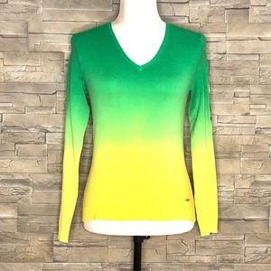 Point Zero yellow and green v-neck sweater